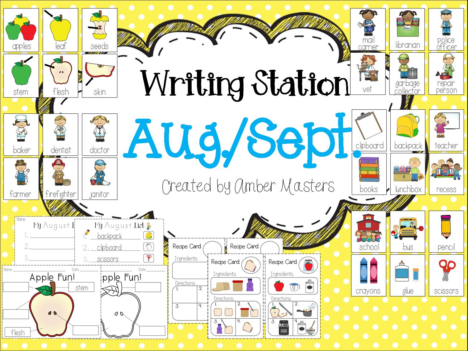 http://www.teacherspayteachers.com/Product/August-September-Writing-Station-1346988